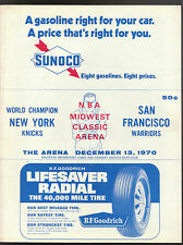 12/13 1970 NEW YORK KNICKS SAN FRANCISCO WARRIORS GAME PROGRAM MIDWEST ARENA