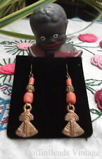 Antique coral beads EARRINGS - vintage Africa Trade Yoruba 'lost wax' amulet GP