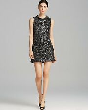 NWT! Rachel Zoe 'Cyrus' Leather Sequin Metallic Black Dress $350, Sz 2