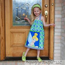 BonEful GIRL 5 6 RTS Boutique DISNEY Tinkerbell Fairy Halter Dress Cotton Fabric
