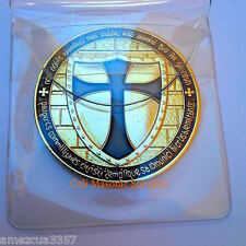"Knights Templar  Commemorative  Two Sided  Thick Golden Coin 1.5"" Black  Enamel"