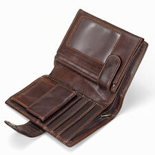 Men's Genuine Cowhide Leather Bifold Wallet Large Capacity Card Case Coin Purse