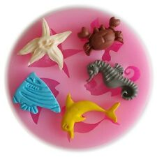 Fish Dolphin Crab fondant mold silicone cake mould decorating tool resin clay