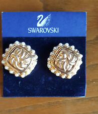 Swarovski Swan Signed Square Gold Tone and Faux Pearl Clip On Earrings