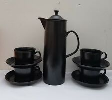 Wedgwood Black Basalt Design 63 Demitasse Coffee Pot with 4 Cups & Saucers