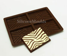 4 cell Zebra Print Chocolate Candy Bar Chocolatier Artisan Silicone Mould Mold