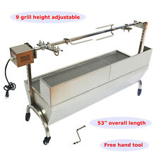 "46"" LARGE STAINLESS STEEL BBQ LAMB,PIG,CHICKEN,GOAT SPIT ROASTER,ROTISSERIE SPIT"