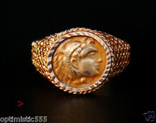 Antique Men Signet Coin Ring Alexander the Great solid 14Gold Size 10.75 US/3.9