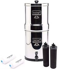 Travel Berkey Water Purifier w/2 Black, 2 PF-2 Fluoride Arsenic Removal Filters