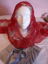 New Alexander McQueen red chiffon scarf with original gift box.