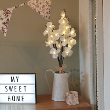 BATTERY LED FLOWER INDOOR HOME WEDDING WHITE ORCHID BOUQUET VALENTINES LIGHT