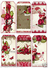 VALENTINE'S DAY/LOVE (28-V) SCRAPBOOK CARD EMBELLISHMENTS HANG/GIFT TAGS