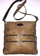 (G76): THE TREND ITALY Leather Cross Body Messenger Light Brown Purse Bag