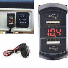 Waterproof 12-24V Rocker Push Switch Style Car Red LED Digital Voltmeter 2-USB