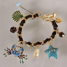 B216 Betsey Johnson Crab Summer Beach Scuba Shell Sea Star Chain Bracelet US