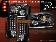 07-08 DODGE RAM TWIN HALO CCFL LED PROJECTOR HEADLIGHTS + LED TAIL LIGHTS BLACK