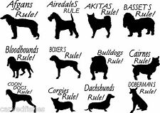 Dog decals,every breed in 4 colors