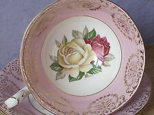 Vintage 1950's Queen Anne pale pink yellow rose gold bone china Tea Cup Teacup