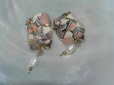 Handmade Pink Cream & Black Striped Polymer Clay with Freshwater Pearl Dangle