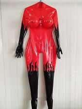 Latex Rubber ​Stylish Catsuit Red and Black Inflatable Chest Suit Size XS-XXL