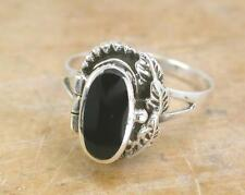 PRETTY .925 STERLING SILVER ONYX POISON RING size 6  style# r1066