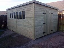GARDEN SHED HEAVY DUTY TANALISED 16X8 PENT 13MM T&G. 3X2.