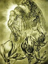 Sulamith Wulfing 1946 ANGEL HOLDING BABY BOY among MAGNOLIAS FLOWER Print Matted