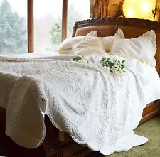 SOFT SURROUNDINGS CHALET FAUX FUR QUILT PALE IVORY / OFF WHITE KING