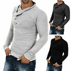 Men's Stylish Tops Slim Fit Casual Fashion T-shirts Polo Shirt Long Sleeve Tee