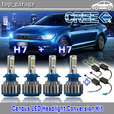 H7+H7 140W 14400LM Cree LED Headlight Kit High & Low 6000K Bulbs Canbus No Error