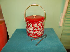 Mid-Century Georges Briard Red Vinyl Ice Bucket Cherry Blossoms Floral Asian