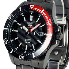 SEIKO 5 SPORTS AUTO BLACK FACE ION BLACK STAINLESS STEEL DIVERS STYLE SRP575K1