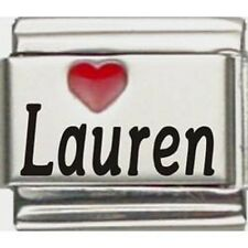 9mm Red Heart Lauren Laser Name Italian Charm  (RHN3311)