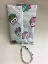 Baby Wipes,wet wipes holder,water Wipes Case with Clip On Strap In Owls oilcloth