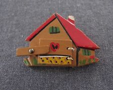 ANTIQUE 1930'S ARTISAN HAND CRAFTED PHOTO LOCKET HOUSE SHAPED WOODEN PIN