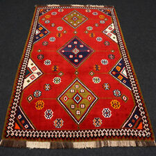 Orient Teppich Rot 207 x 132 cm Blau Perserteppich Brücke Red Carpet Rug Tappeto