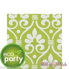 (16) NATURAL DAMASK LARGE green NAPKINS ~ Birthday Eco Party Supplies