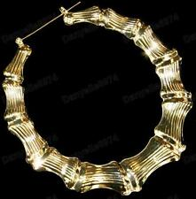 "GIANT 3.5"" BIG GOLD PLATED BAMBOO hoops 9cm HOOP EARRINGS retro 80s LARGE ROUND"