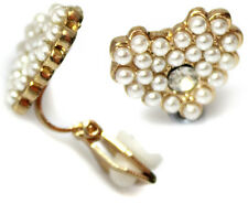 Gold Plated Heart Pearl Crystal Girls Womens CLIP ON Earrings Studs Clipon