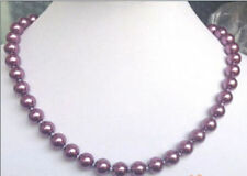 """8mm Purple South Sea Shell Pearl Necklace 18"""" -00"""