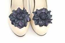 GENUINE LEATHER multi-color roses shoe clips   Leather flowers shoe decoration