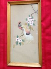 VTG OLD BIRD PAINTING MADE W REAL FEATHERS WOOD PICTURE FRAME GLASS
