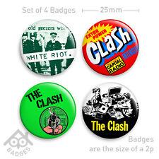 "THE CLASH London Calling, White Riot PUNK Vinyl Record -  1"" Badge x4 Badges NEW"