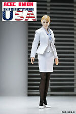"1/6 Office Lady Business Suits Set WHITE For 12"" Phicen Hot Toys - U.S.A. SELLER"