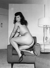 1960s Bettie Page nude kneeling in chair 8 x 10 Photograph