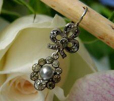 Antiker Ohrring einzelne Brisure 800° Silber Perle Strass Jugendstil 1920 O461
