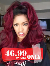 Chantiche Ombre Burgundy Lace Front Wigs Synthetic Hair Long Wavy Wig Heat Safe