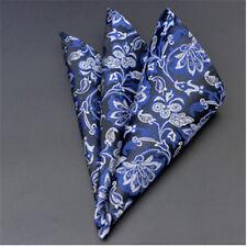 Men's Wedding Party Silk Satin Solid Floral Hanky Pocket Square Handkerchief F17