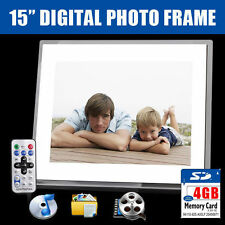 "New 15"" White HD Digital Photo Frame MP3 AVI MPEG Audio Video Photo +4GB SD Card"