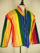 womens M L vtg rainbow colors jacket coat handwoven Bali art to wear lesbian gay